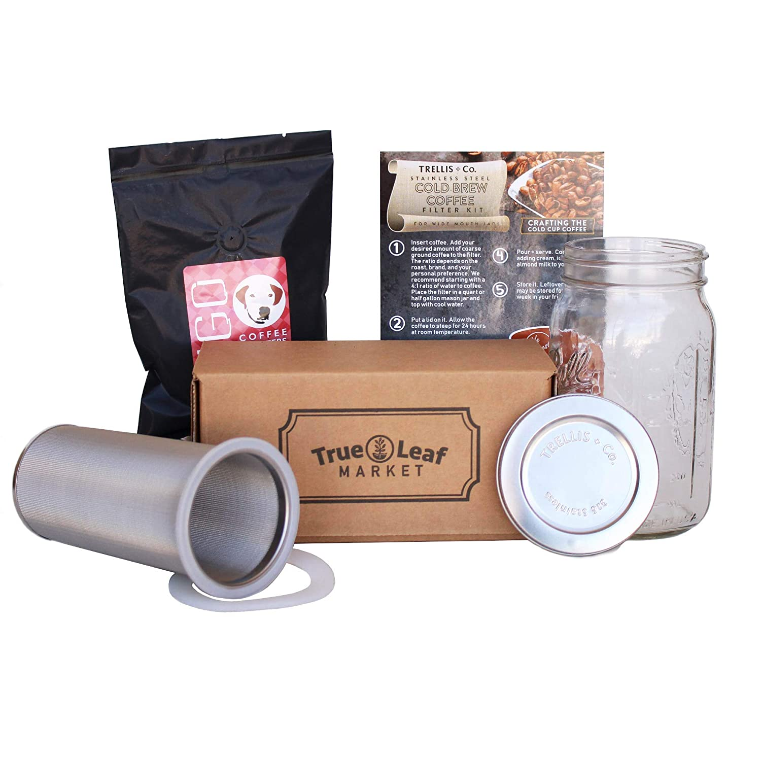 Trellis + Co. Cold Brew Coffee Maker Kit with Quart Mason Jar   Stainless Steel Cold Brew Coffee Filter - 80 Micron Mesh   Includes Portable Stainless Steel Lid & Hugo Dog Daze Cold Brew Coffee