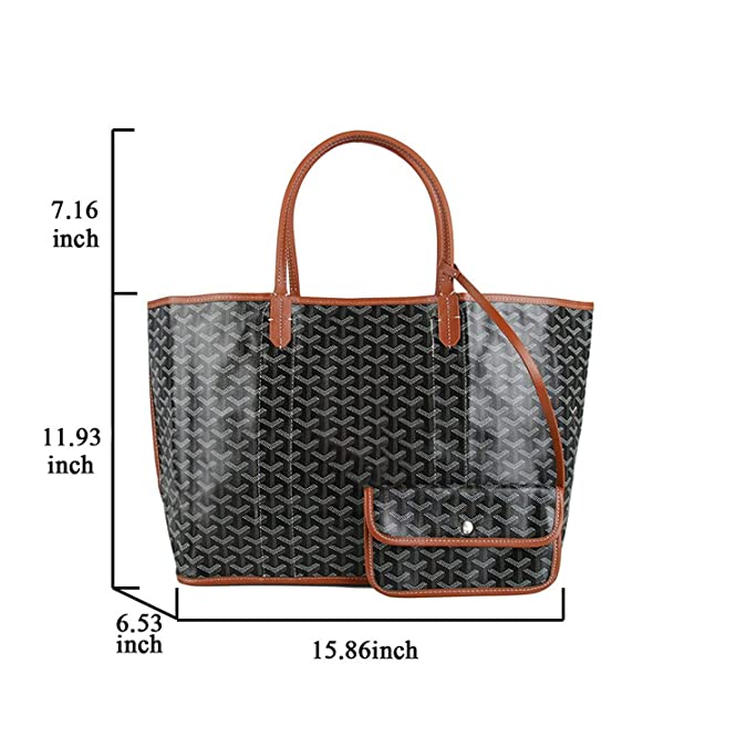 39bb54b8c5e1 Stylesty Fashion Reversible Shopping PU Canvas Tote Bag Set, Designer  Shoulder Handlebag with Coin Pouch (Black)
