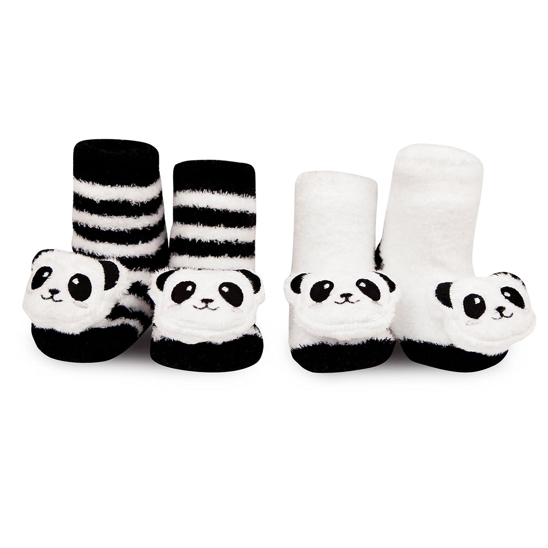 427a0b224 Amazon.com: WADDLE Newborn Baby Panda Bear Animal Rattle Socks Black White  0-12M Gift Set: Baby