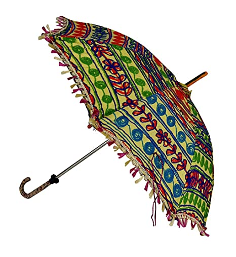 Lal Haveli Handcrafted Embroidery Work Designer Cotton Parasol Umbrella 24 X 28 Inches