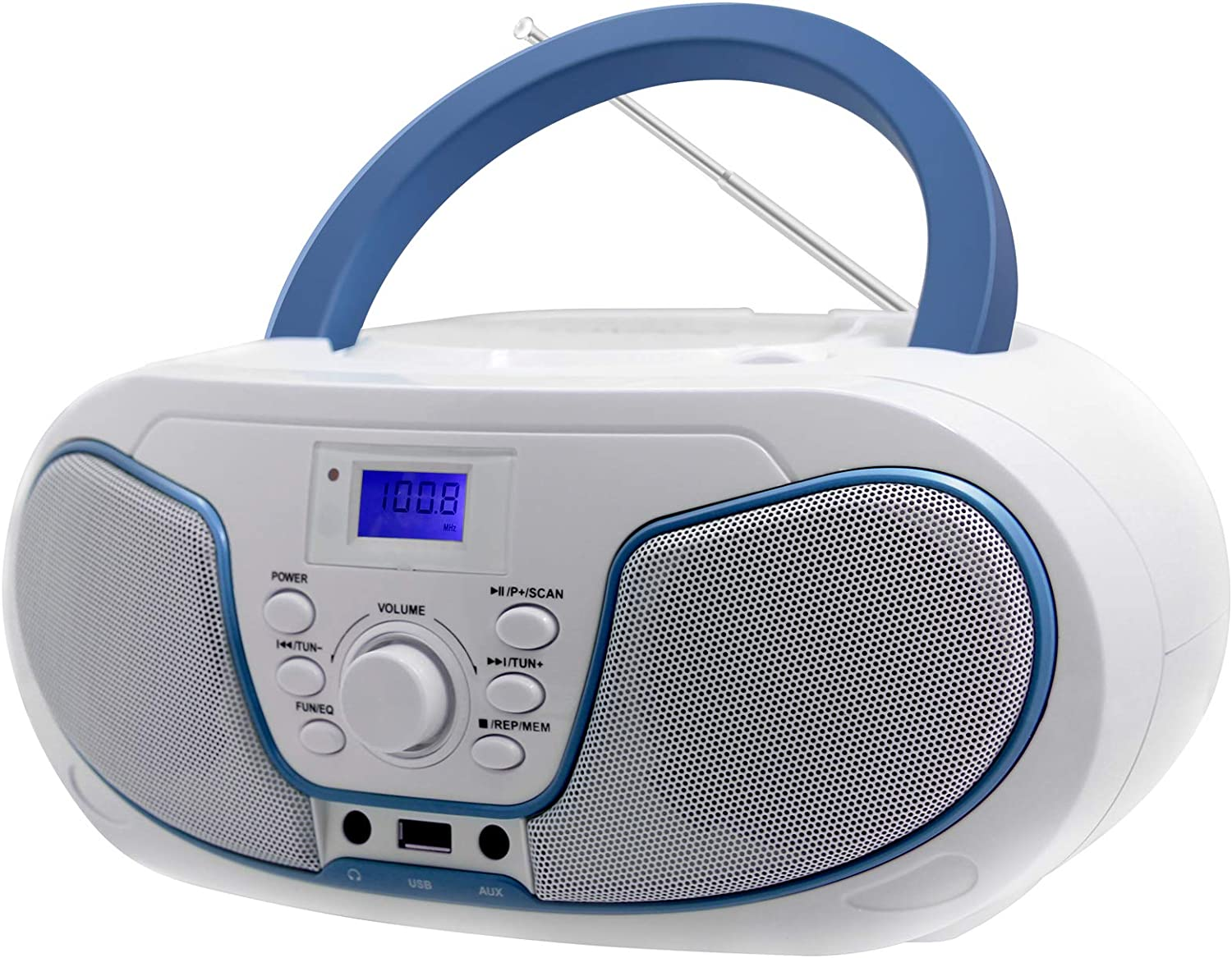 Portable Radio Boombox, LONPOO CD Player Stereo Audio with Bluetooth, USB, AUX-in, Headphone Output (White)