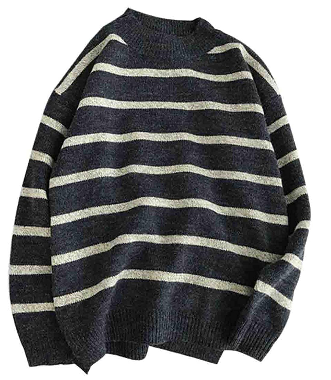 YYear Mens Winter Casual Striped Crew Neck Patchwork Long Sleeve Knit Sweater