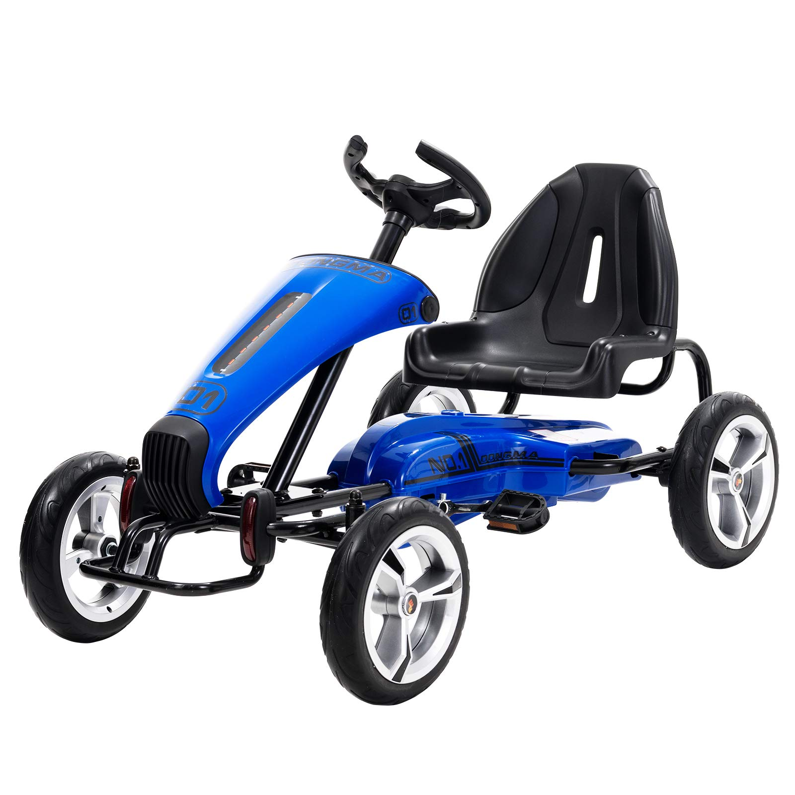 Uenjoy Pedal Go Kart Pedal Cars with Adjustable Seat, Sporty Steering Wheel, Blue
