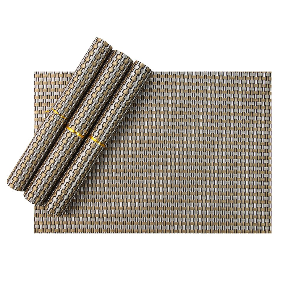 Amazon.com: Table Placemats, Stain Resistant Anti Skid Vinyl Placemats For Kitchen  Table, Place Settings Of 4 (Champagne): Kitchen U0026 Dining