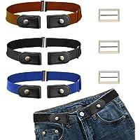 CODIRATO 3 PCS Cinturón Elástico sin Hebilla Ajustable Cinturón Invisible 55-95cm Cinturón Unisex sin Hebilla para…