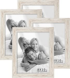 BOICHEN Picture Frames 8x10 (4-Pack) - Rustic White Washed Farmhouse Wooden Frame - Photo Frame with Glass Cover Ready to Hang or Stand