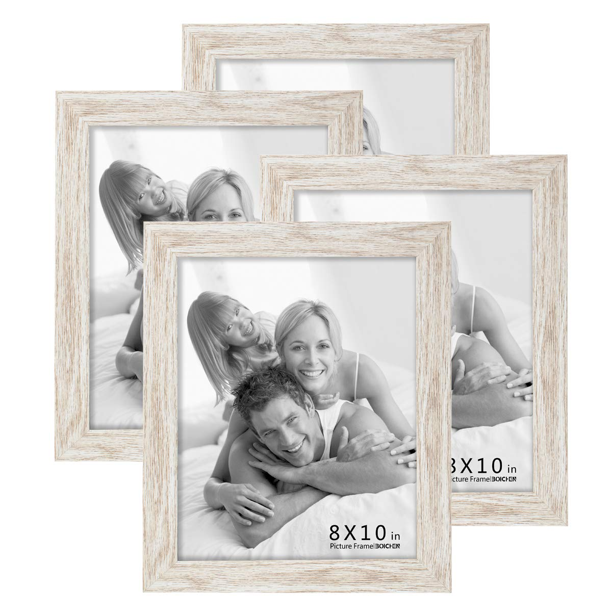 Boichen 4 Pack 8x10 Picture Frame Wood Pattern High Definition Glass Tabletop or Wall,White Woodgrain Photo Frames 8x10 4 Pack