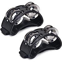 Facmogu 2 panderetas de pie con 4 campanas de metal y correa ajustable, accesorio para instrumentos de tambor, color…