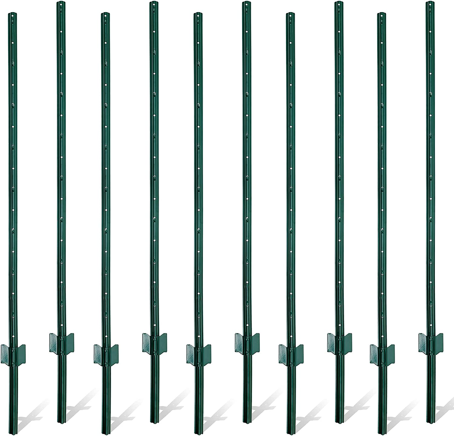 Gtongoko Duty Steel Fence Post,Fence Stakes for Garden and Yard, Outdoor Wire,Green,Pack of 10 (5FT)