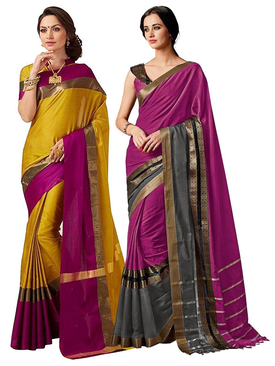 ELINA FASHION Pack of Two Sarees for Indian Women Cotton Art Silk Printed Weaving Border Saree (Multi 6)