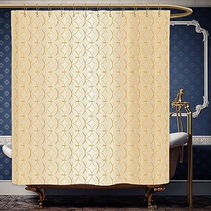 Wanranhome Custom Made Shower Curtain Beige Decor Golden Linked Circle And Diamond Shape Motifs Geometric