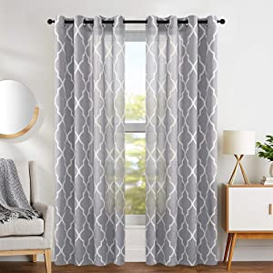 jinchan Grey Moroccan Curtains Print Flax Linen Blend Textured Grommet Window Treatment Set for Bedroom 2 Panels Ring Top Soft Grey