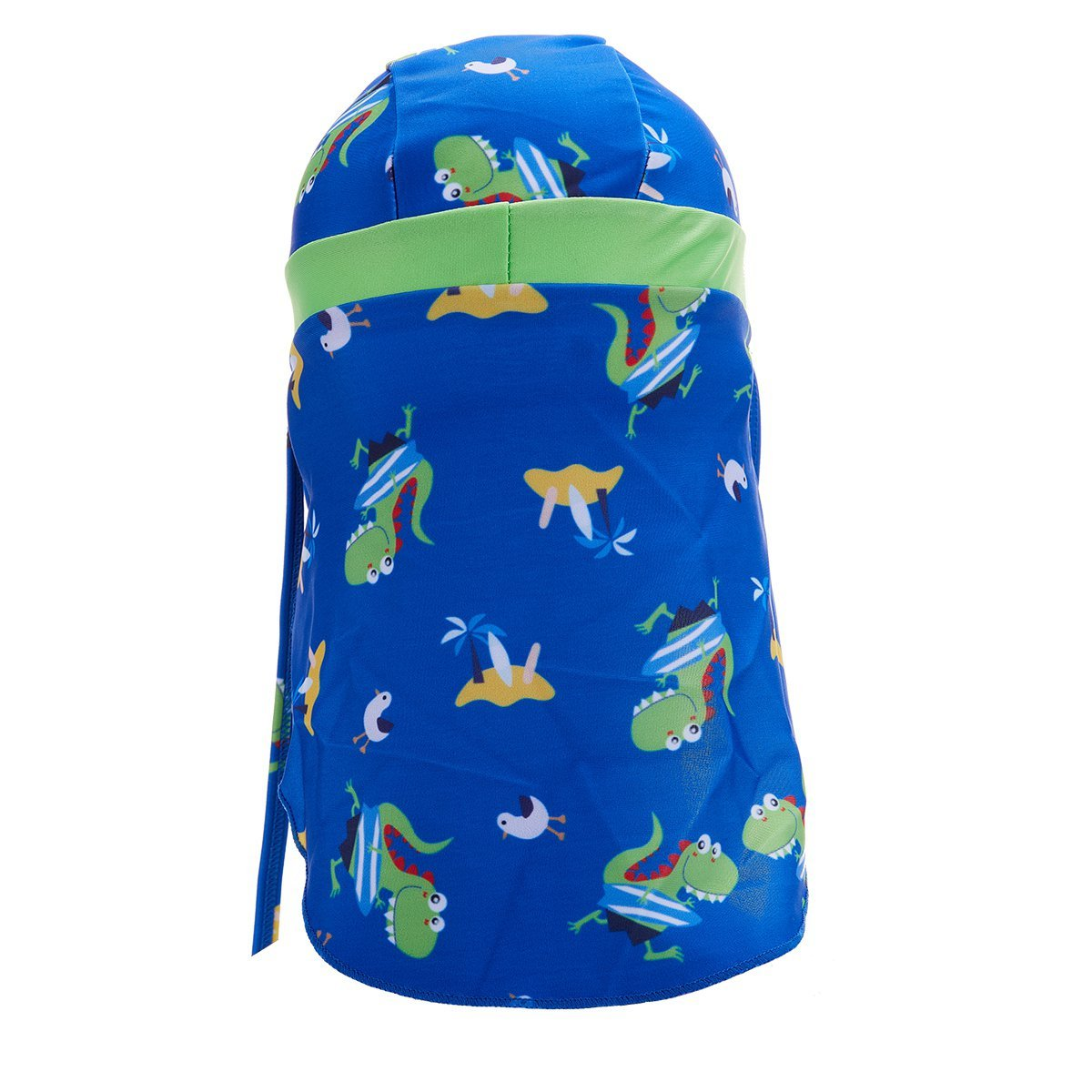 SODIAL Sombrero de Natacion de Solapa Deportivo Proteccion Solar ninos y Ninas Gorra de Solapa UV Dinosaurio Amarillo Rojo Raya Amarilla
