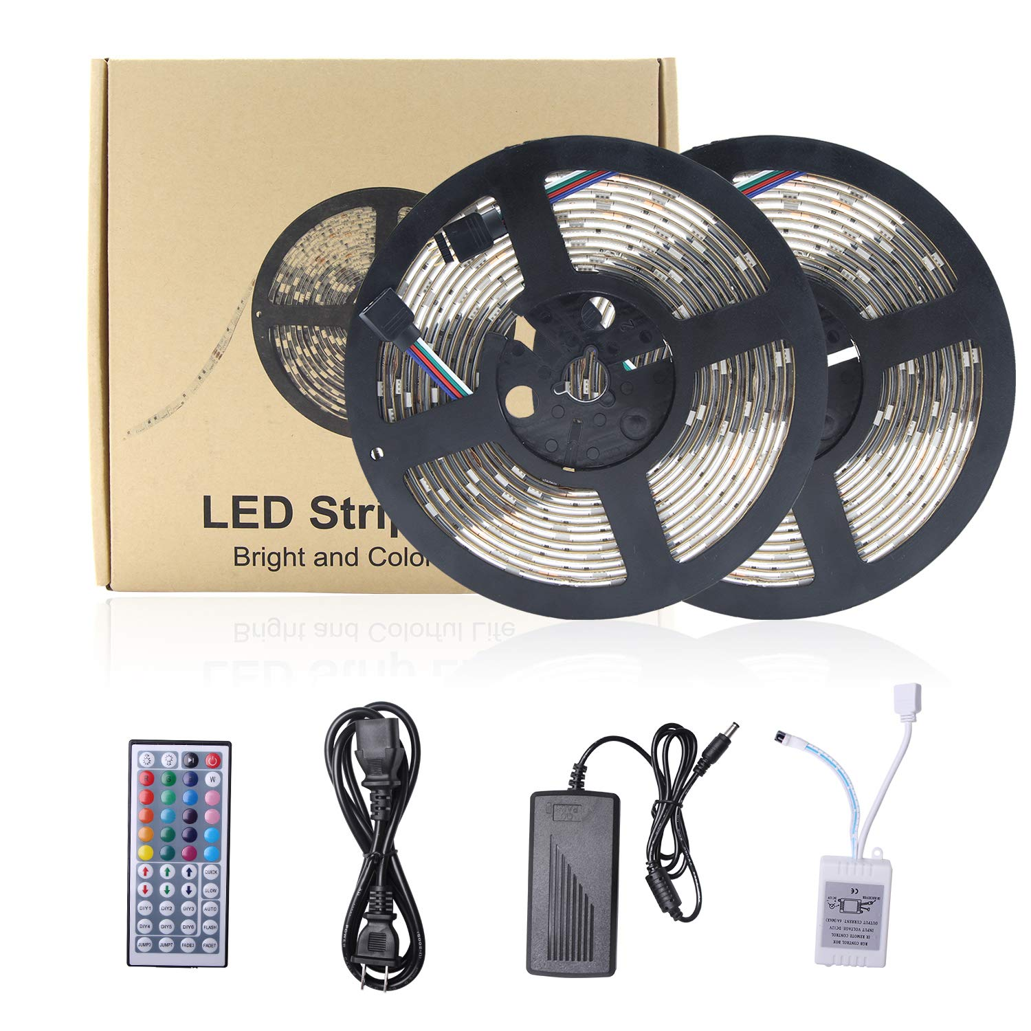 Relohas Led Strip Lights, 32.8ft(10M) Waterproof Flexible RGB Led Strip Light Kit,5050 SMD 300led with 44 IR Controller for Home Decor,Trucks,Pools,Parties and More by Relohas