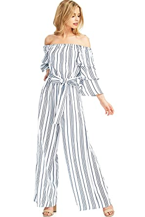 594549a279 A. Calin by Flying Tomato Women s Off Shoulder Nautical Stripe Light  Jumpsuit (S