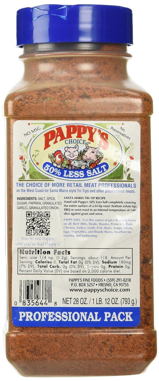 Pappy's Choice Seasoning , 50% Less Salt 28 oz (Pack of 5)