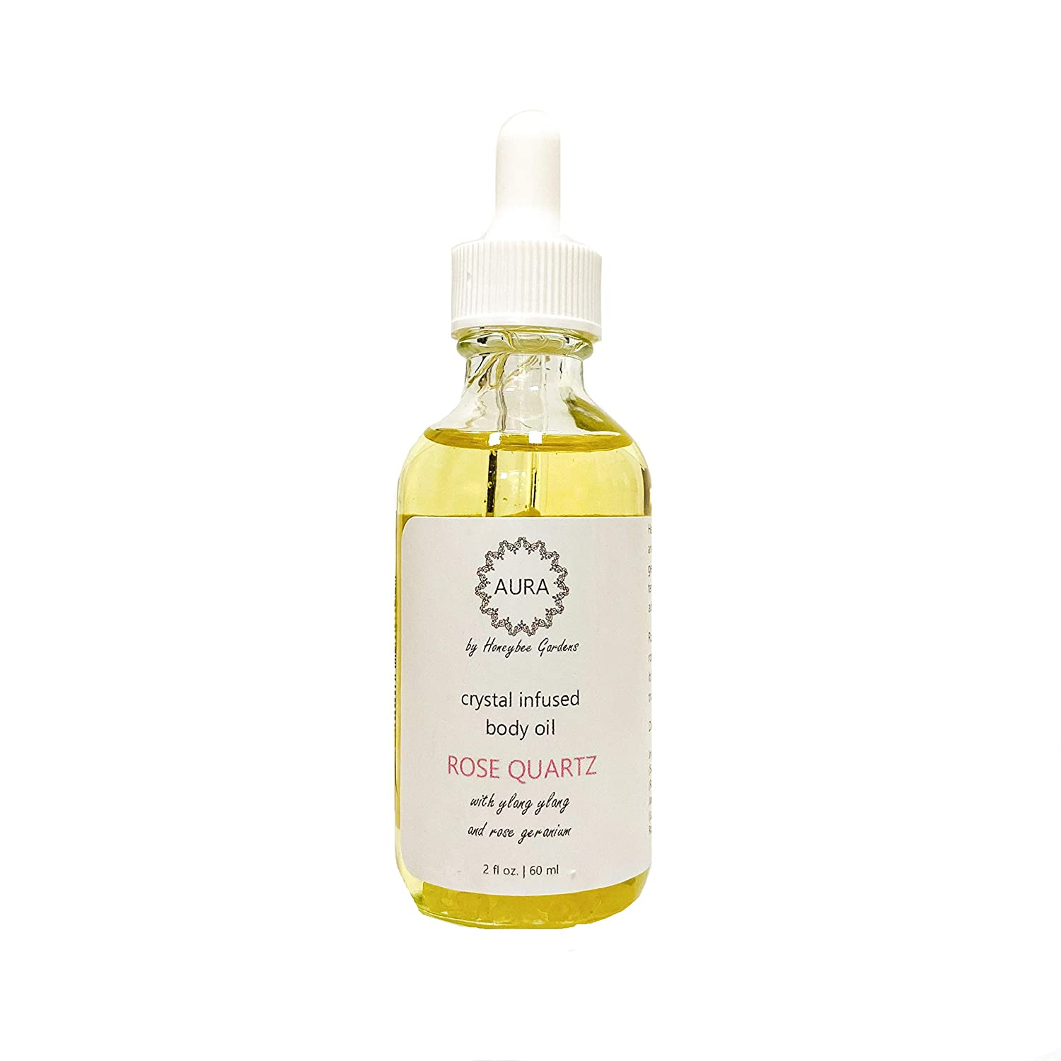 Honeybee Gardens Crystal Infused Body Oil - Rose Quartz, 2 oz.