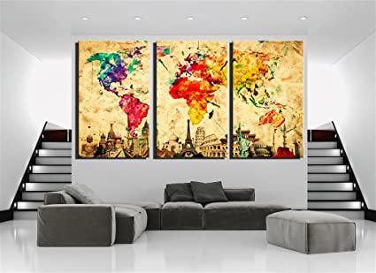 Amazon.com: Damenight 3 Panel Wall Art painting for home decor ...