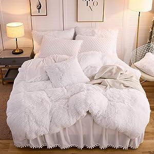 LIFEREVO Luxury Plush Shaggy Duvet Cover Set (1 Faux Fur Duvet Cover + 1 Pompoms Fringe Pillow Sham) Solid, Zipper Closure (Twin, White)