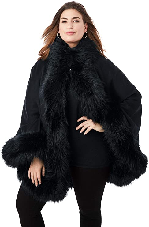 1920s Coats, Furs, Jackets and Capes History Jessica London Womens Plus Size Faux Fur Trim Cape Wool Poncho Hook and Eye Closure $85.36 AT vintagedancer.com