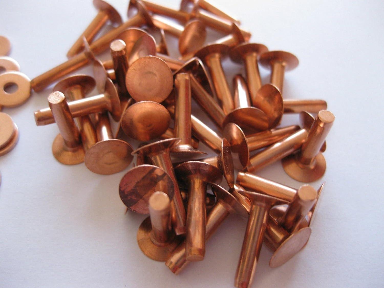 number in pack 50 Copper hose saddlers rivets 10 Gauge x 1//2 with washers leather belt bag crafts