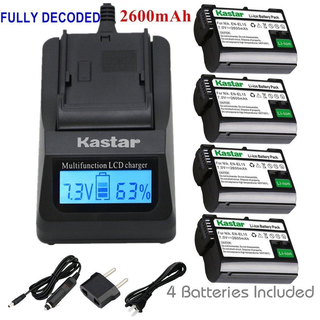 Kastar Fast Charger + Battery 4-Pack for Nikon EN-EL15, Nikon D850, D750, D7000, D7100, D7200, D7500, D800, D800E, D810, D600, D610, Nikon 1 V1 DSLR Camera, MB-D11, MB-D12, MB-D14, MB-D15, MB-D16 Grip