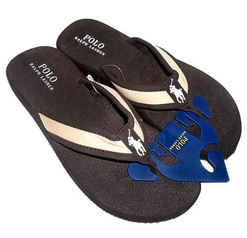40311b444a85 Polo Ralph Lauren Almer II Men s Flip Flip Sandals Dark Brown Khaki ...