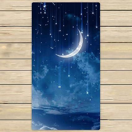 Toallas de baño, toalla de baño cuerpo ducha, personalizado Luna Estrella en cielo Azul