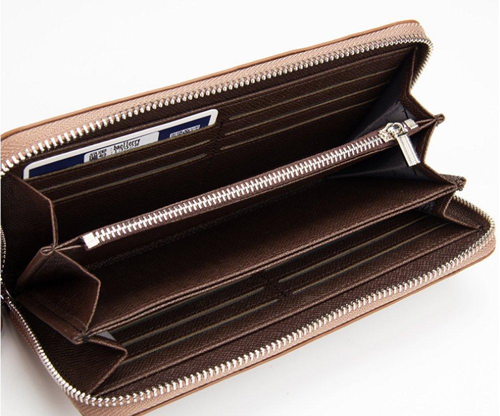 Un Grand Cadeau pour Anniversaire Bleu LAAT Hommes Portefeuille en Cuir Mode Bourse de Ch/équier Longue Bifold
