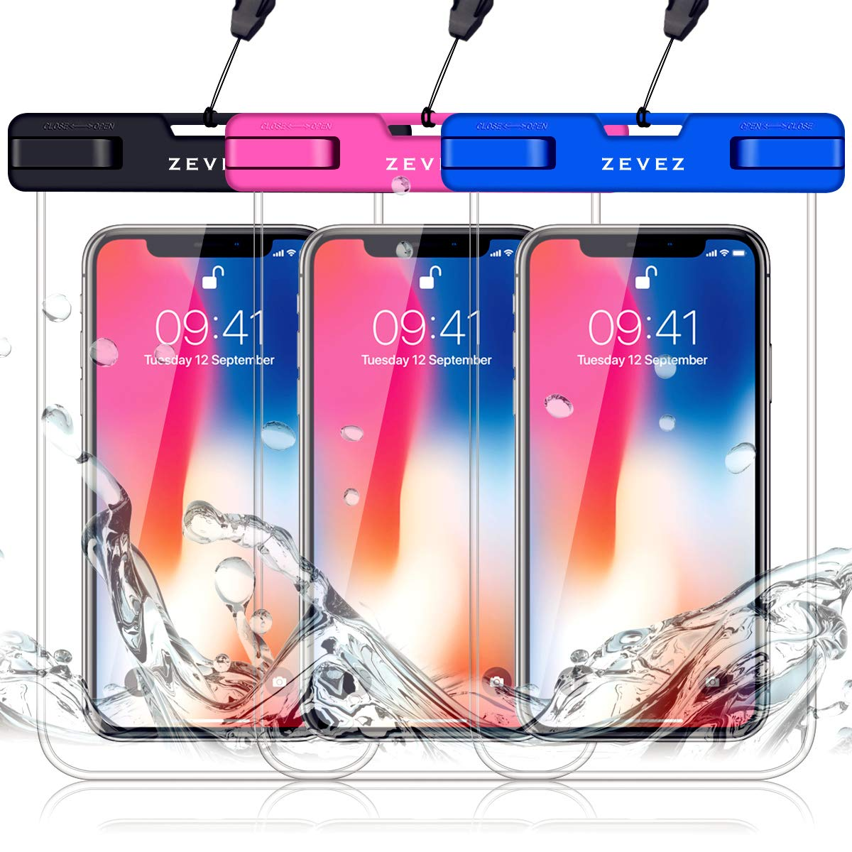 3 Pack Universal Waterproof Phone Pouch, Dry Bag for Cell Phone - Summer Water Sports and Dive for iPhone Xs Max XR X 8 7 6S Plus, Galaxy S10 Plus S10e S9, Pixel 3 2 XL HTC LG Sony Moto Up to 7'' by ZEVEZ