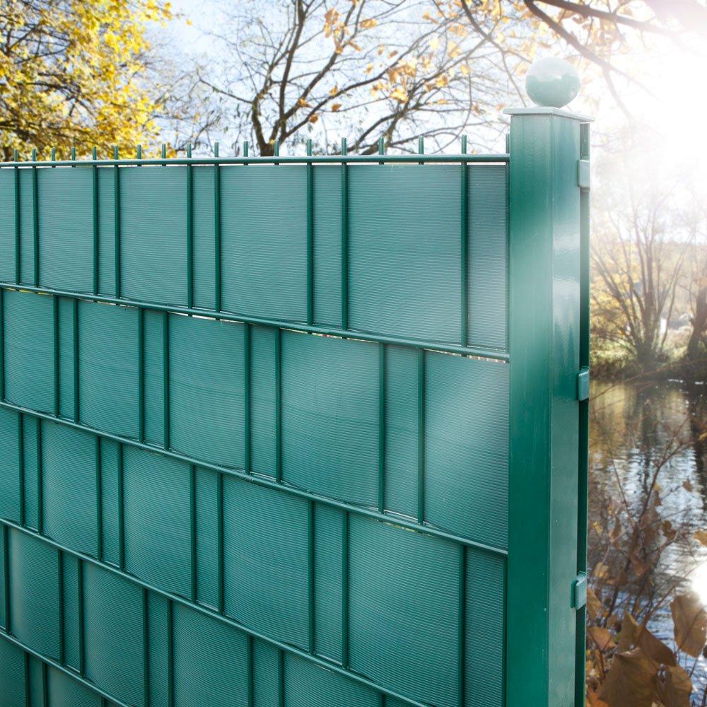 Amazon 10 Sichtschutzstreifen Moosgrün im Set Hart PVC