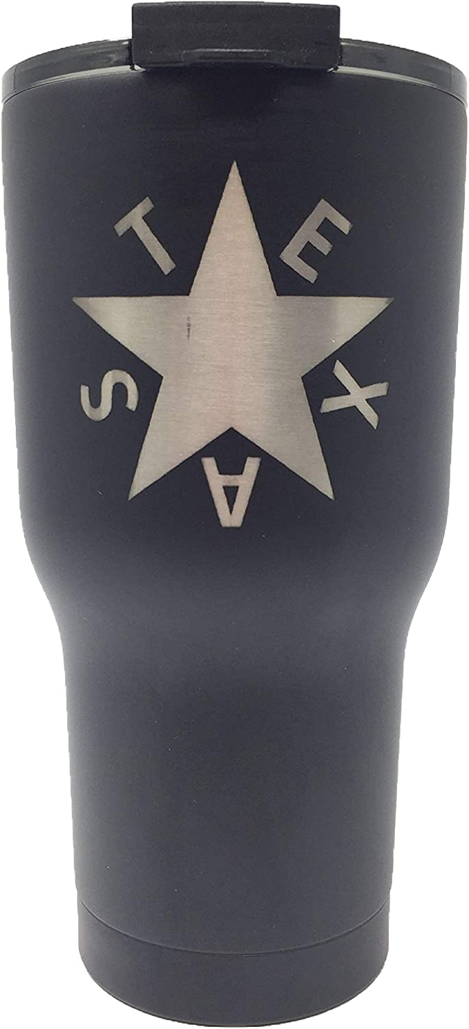 Texas Edition RTIC Stainless 20 Ounce Cup With Fliptop Lid - Texas Star (Zavala Flag) - Engraved In USA