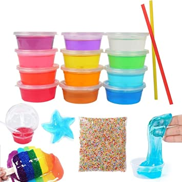 Amazon Com Imisno 12 Colors Clay Slime Toys Kids Magic Foam Balls