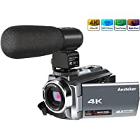 Camera Camcorder with Microphone, Ansteker 4K Ultra HD Video Camera 48MP 16x Digital Zoom Camcorder with Infrared Night Vison, External Microphone, 3.0IN Rotation Touch Screen