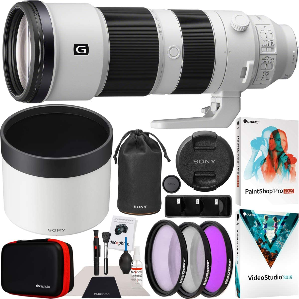 Sony FE 200-600mm F5.6-6.3 G OSS Lens Full Frame Super Telephoto Zoom SEL200600G Professional Lens Bundle with UV FLD CPL Filter Kit + Photo Video Editing Software Kit and Deco Gear Accessories Set
