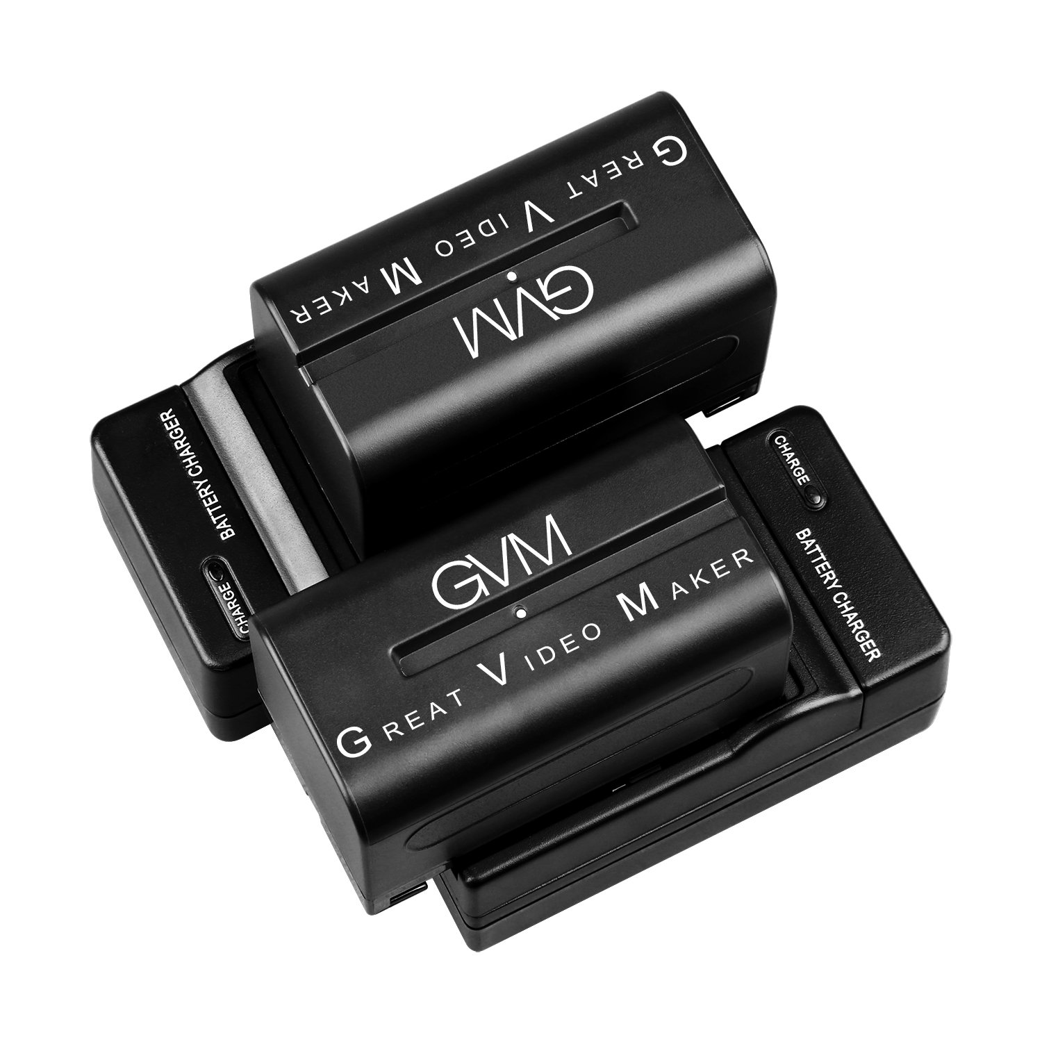 GVM 2 Pack NP-F750/770 Battery and Charger 4400mAh for Sony NP-F975, NP-F960, NP-F950, NP-F930, NP-F770, NP-F750, NP-F550, DCR, DSR, HDR, FDR, HVR, HVL and LED Light by GVM Great Video Maker