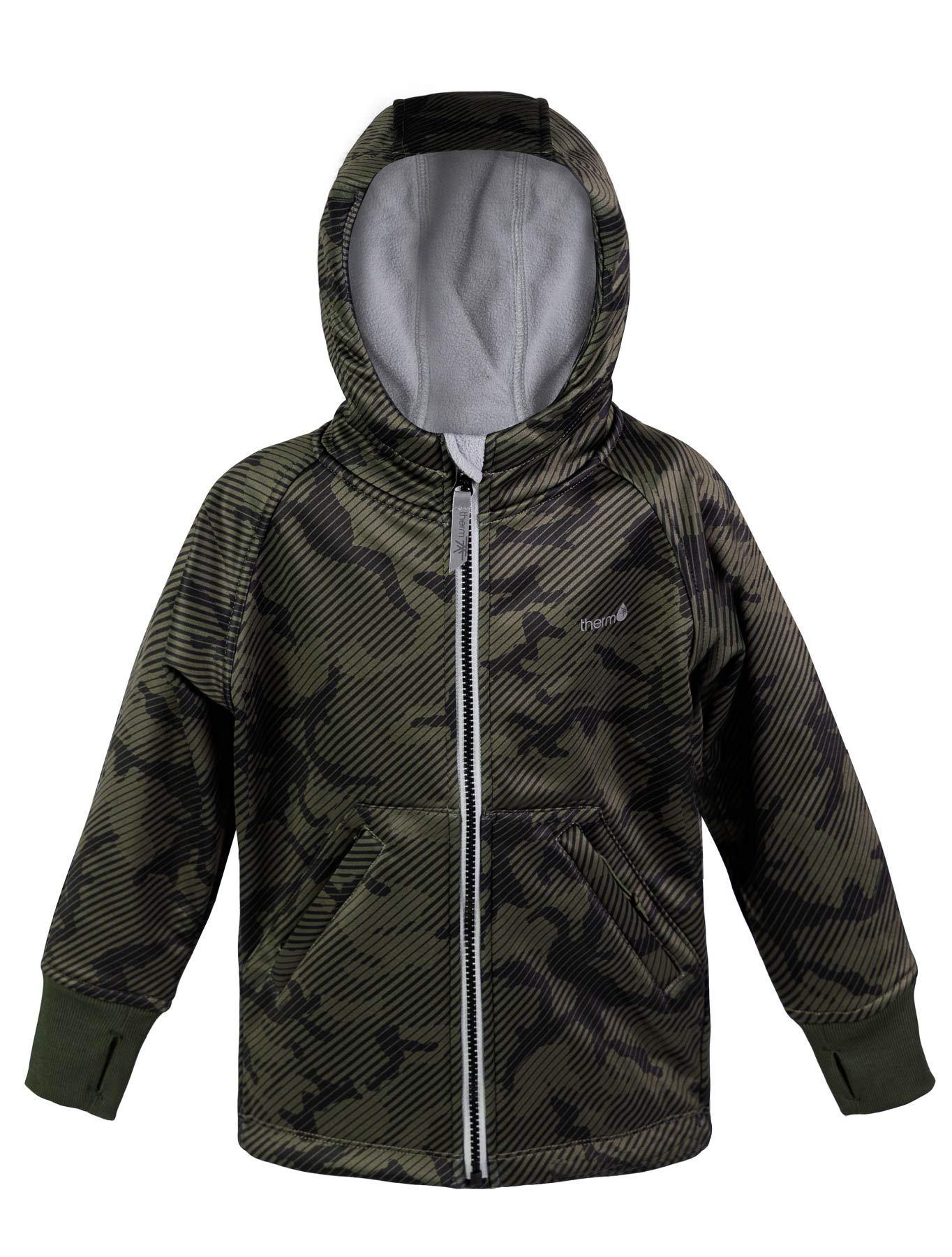 Therm Boys Rain Jacket, Lightweight Hoodie Raincoat - Eco Friendly Fabric, Fleece Lined - Camo Black Navy - Kids Youth (12, CAMO) by Therm