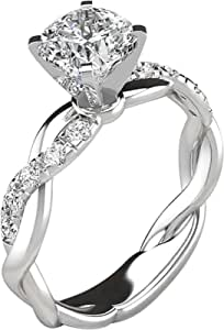 Auwer Rings, Clearance! 2-in-1 Womens Vintage White Diamond Silver Engagement Wedding Band Ring Set