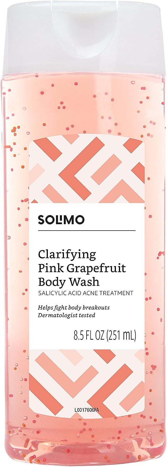 Amazon Brand - Solimo Clarifying Pink Grapefruit Body Wash