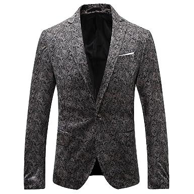 Allthemen Mens Luxury Floral Dress Suit Slim Fit Prints Stylish Blazer Single Breasted One Button Tuxedo Coats Closure Jacket