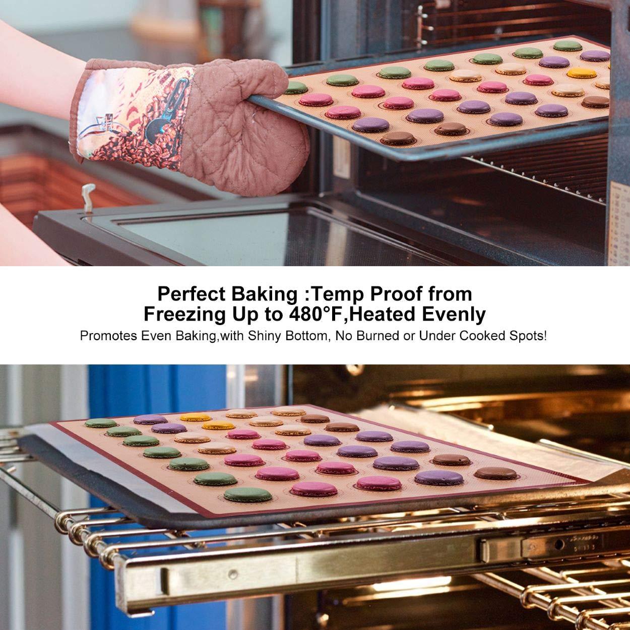 Silicone Baking Mat Macaron Mat Kit(14pcs set) Macaroon Baking Mat Set of 2 Half Sheet Macaron Silicone Mat Nonstick Macaron Mat Sheet,6 Piping Tip,2 Piping Bag with 2 Bag Tie,1 coupler (11.6''x16.5'') by Angadona (Image #4)