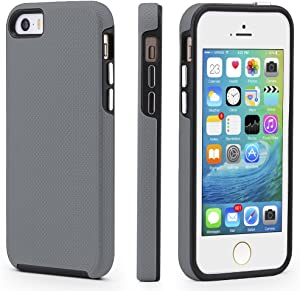 CellEver iPhone 5/5s/SE (2016 Edition) Case, Dual Guard Protective Shock-Absorbing Scratch-Resistant Rugged Drop Protection Cover for iPhone 5/5S/SE (Slate)