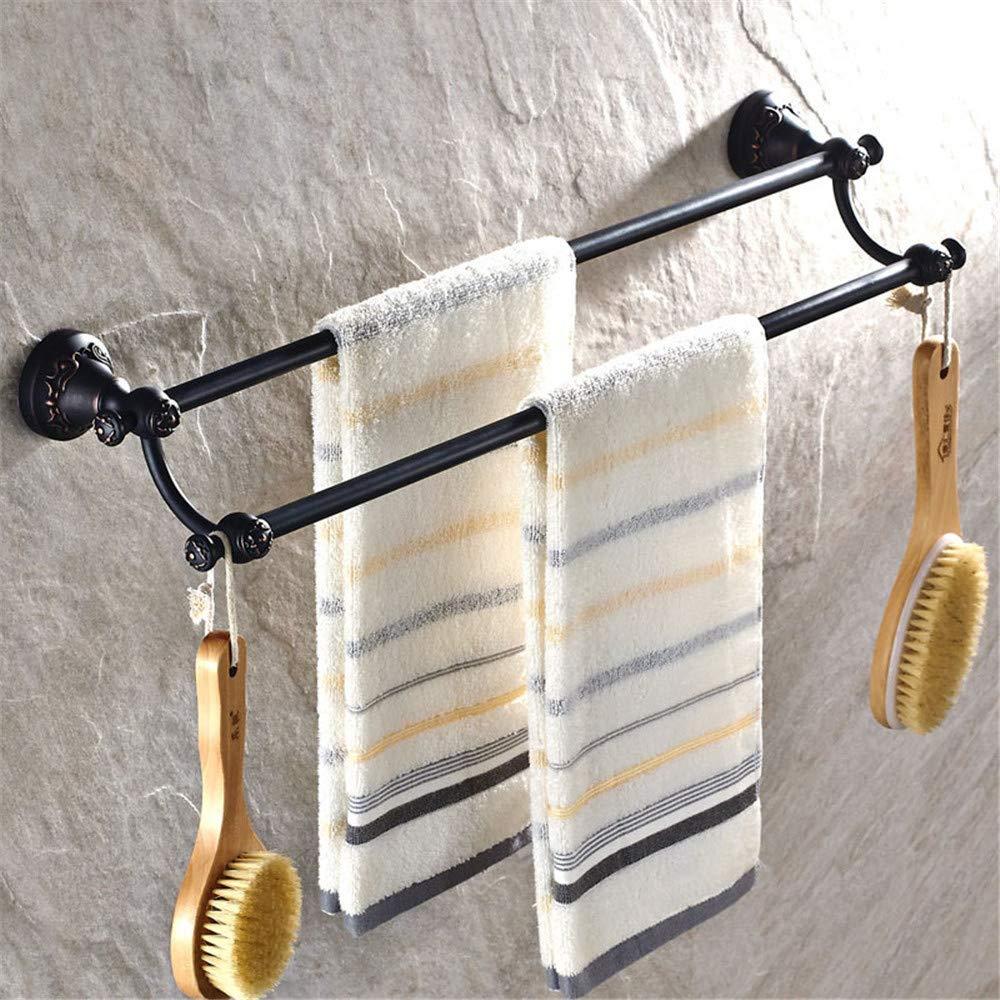 WANDOM Handtuchstange Doppelstange Versorgung Handgebürstetem Handtuchhalter Für Schwarze Kupfer Doppelstab