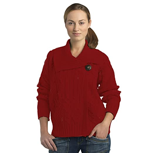 29d2dbea8e 100% Soft Irish Merino Wool One Button Aran Ladies Sweater by West ...