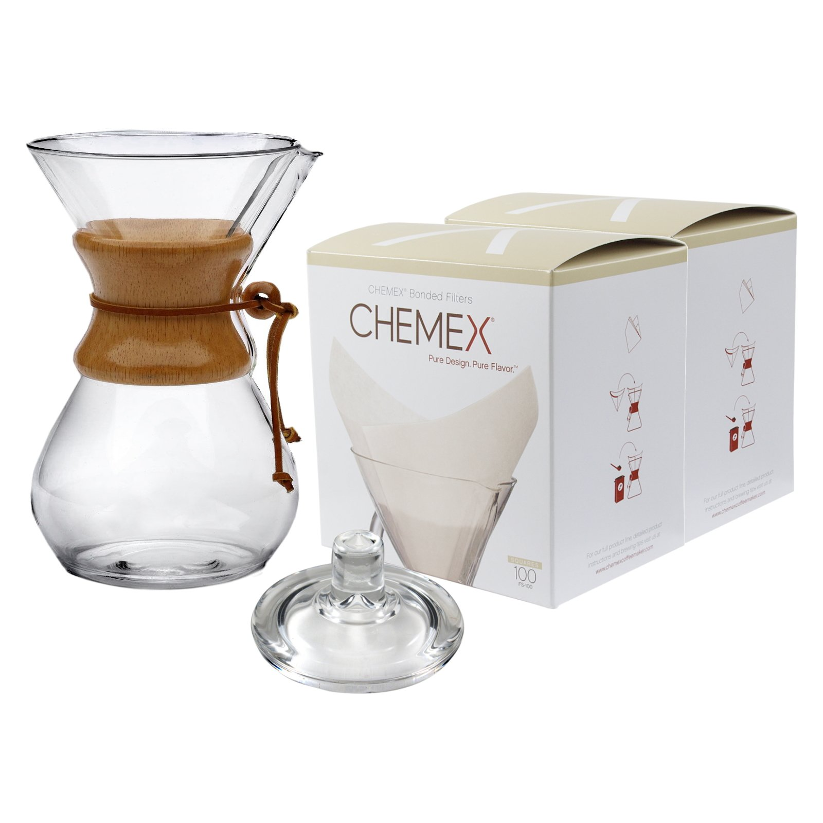 Chemex Classic Wood Collar and Tie Glass 50 Ounce Coffee Maker with Cover and 200 Count Oxygen Cleansed Bonded Square Coffee Filters