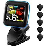 2-in-1 Guitar Tuner, Atmoko Clip-on Electronic Tuner Acoustic and Metronome for Guitar, Ukulele, Bass, Violin and Chromatic Tuning, Clear LCD Colorful Display, 5 Guitar Picks and Battery Included