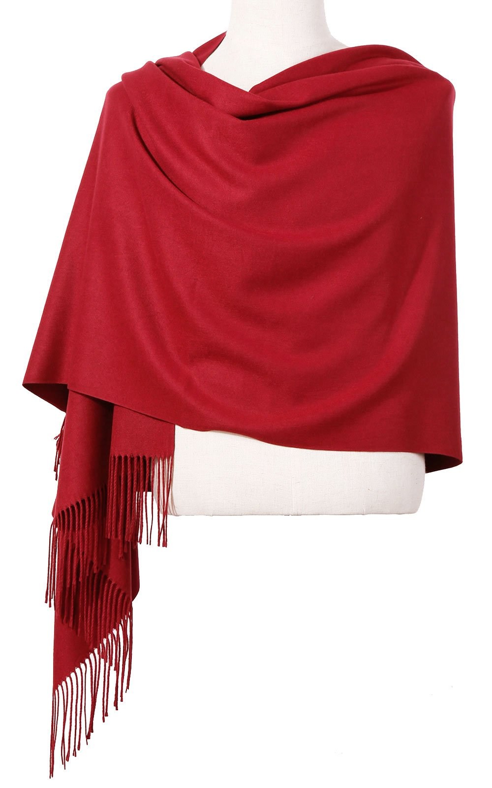 Womens Pashmina Shawl Wrap Scarf - Ohayomi Solid Color Cashmere Stole Extra Large 78''x28'' (wine red)