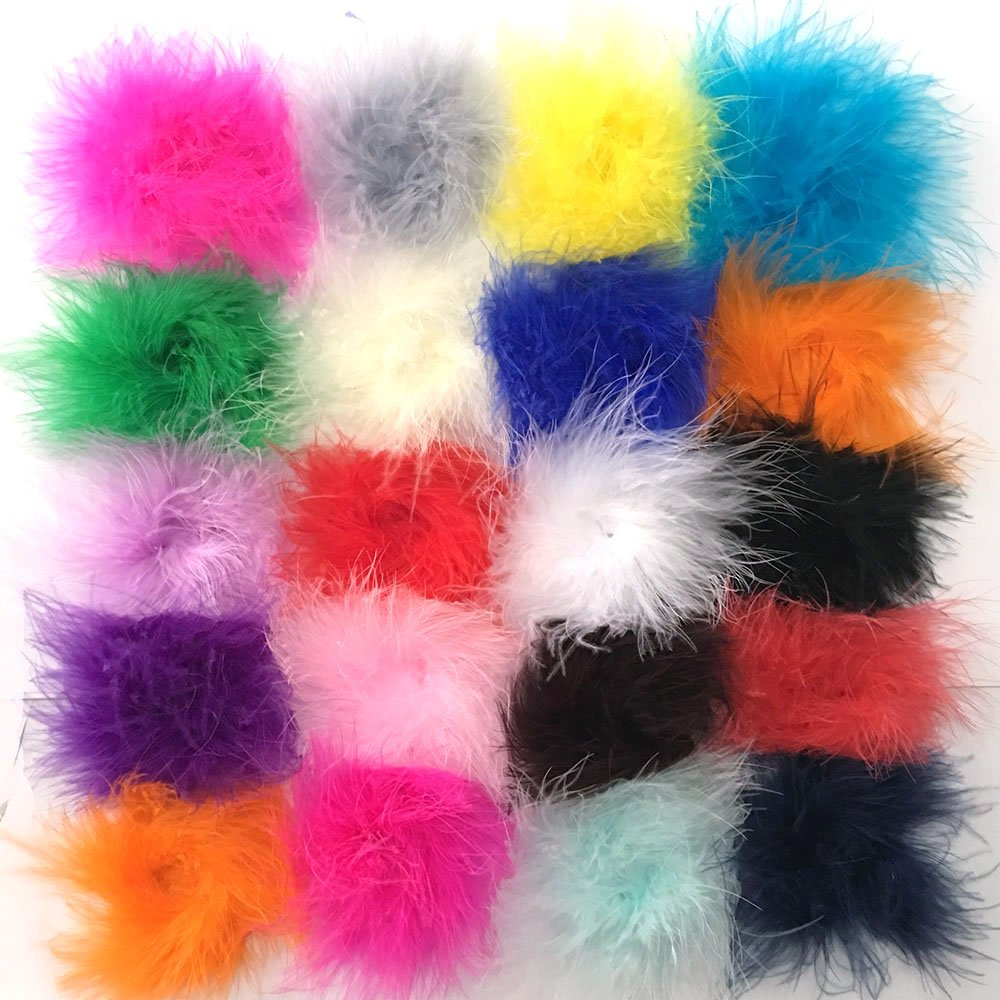 Yazon Marabou Feather Puffs DIY Crafting Feathers Assorted Feathers Flower Pack of 18pcs (marabou puff 18pcs)
