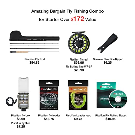 Piscifun New Fly Fishing Rod Reel Combo Fly Fishing Complete 5//6 Starter Package Fly Fishing kit Beginners