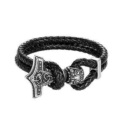 Amazon.com: Chomay Viking Jewelry Pulsera de cuero Odin Thor ...